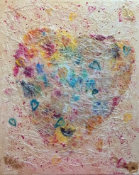 Heart Strings, Acrylic Paint, Skins and Mixed Media, 20 x 16 inches, Copyright Wendie Donabie